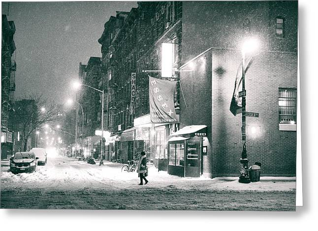 Winter Night Greeting Cards - Lower East Side - Winter Night - New York City  Greeting Card by Vivienne Gucwa