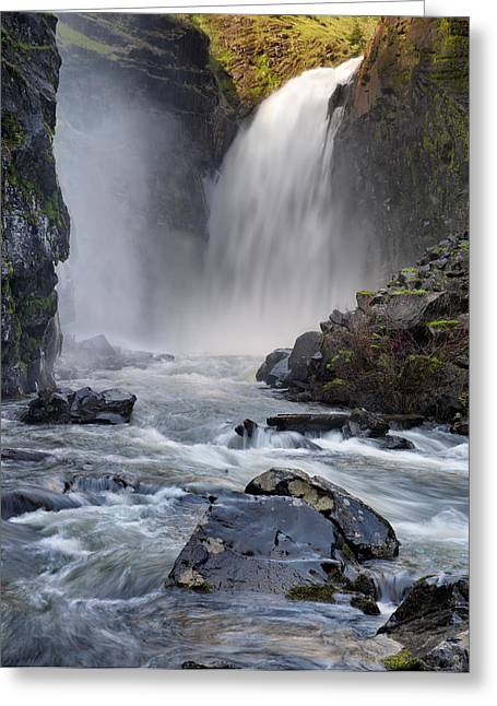 Pouring Greeting Cards - Lower Elk River Falls Greeting Card by Leland D Howard