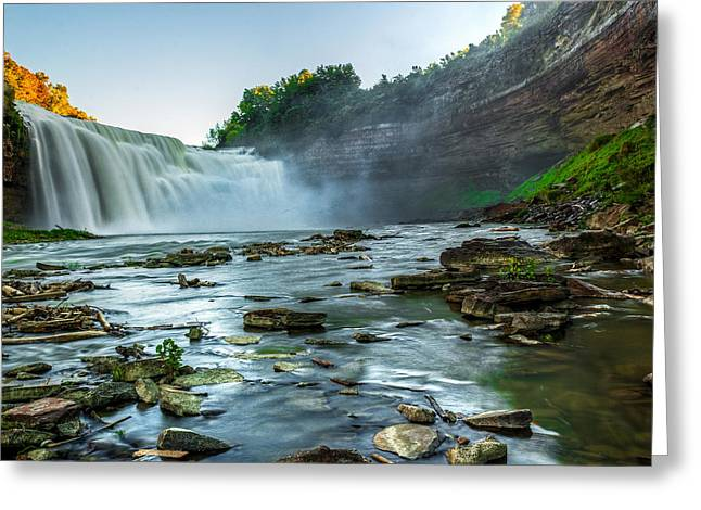 High Falls Gorge Greeting Cards - Lower Falls Genesee River Greeting Card by Tim Buisman
