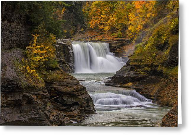 """sunset Photographs"" Greeting Cards - Lower Falls in Autumn Greeting Card by Rick Berk"