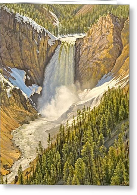 Waterfall Greeting Cards - Lower Falls-May   Greeting Card by Paul Krapf