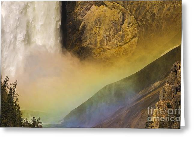Grand Canyon Of The Yellowstone Greeting Cards - Lower Falls Rainbow - Yellowstone Greeting Card by Sandra Bronstein