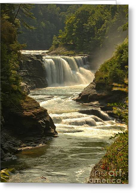 The Grand Canyon Greeting Cards - Lower Letchworth Falls Greeting Card by Adam Jewell