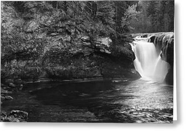 Beauty Mark Greeting Cards - Lower Lewis River Waterfall Panoramam - Black and White Greeting Card by Mark Kiver
