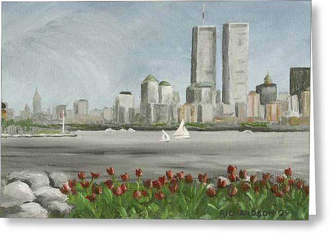 The Twin Towers Of The World Trade Center Greeting Cards - Lower Manhattan 1992 Greeting Card by Susan Richardson