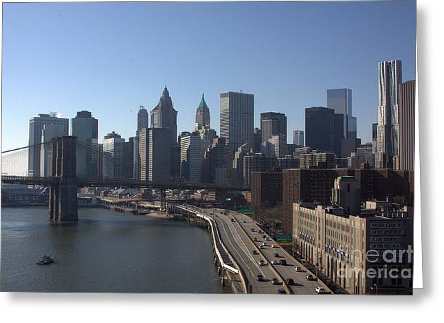 Fdr Drive Greeting Cards - Lower Manhattan and the Brooklyn Bridge Greeting Card by Steven Macanka