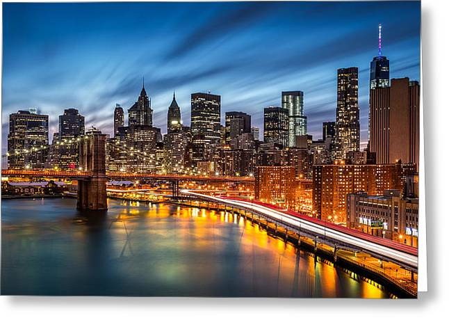 Fdr Drive Greeting Cards - Lower Manhattan at dusk Greeting Card by Mihai Andritoiu