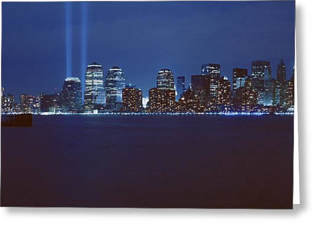 Wtc 11 Photographs Greeting Cards - Lower Manhattan, Beams Of Light, Nyc Greeting Card by Panoramic Images