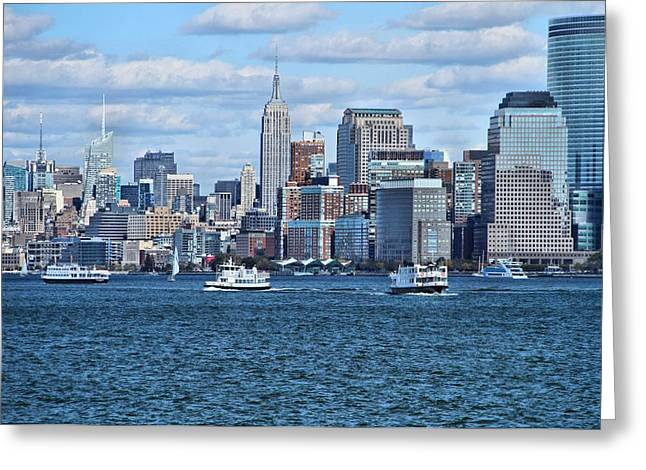 Wall Street Greeting Cards - Lower Manhattan Greeting Card by Dan Sproul