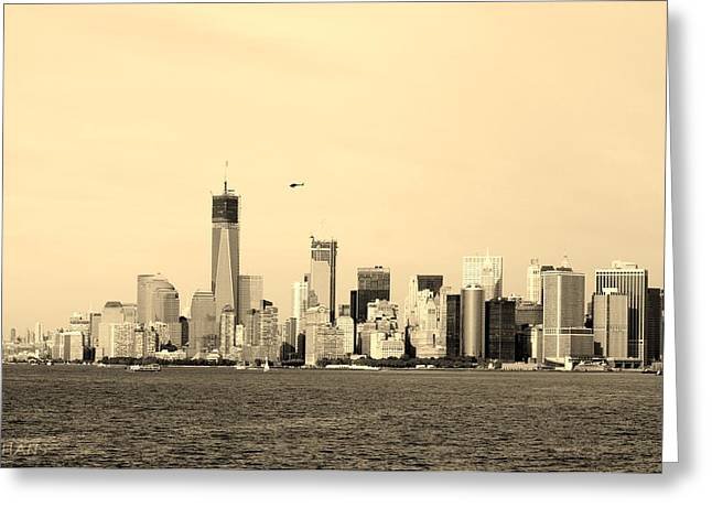 Wtc 11 Greeting Cards - LOWER MANHATTAN in SEPIA Greeting Card by Rob Hans