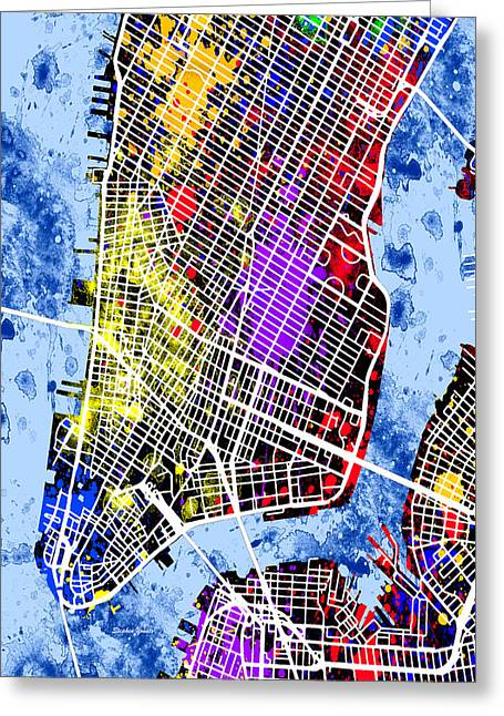New Year Greeting Cards - Lower Manhattan Map Greeting Card by Stephen Younts