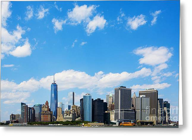 Riverfront Greeting Cards - Lower Manhattan New York City Greeting Card by Diane Diederich