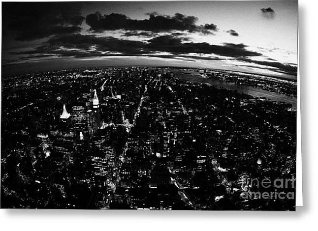 Manhatan Greeting Cards - Lower Manhattan New York City Night Sunset Dark  Greeting Card by Joe Fox