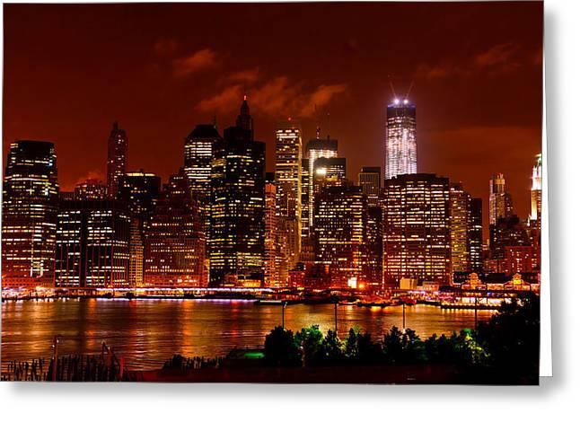 Lower Manhattan Night Skyline Greeting Card by Greg Norrell