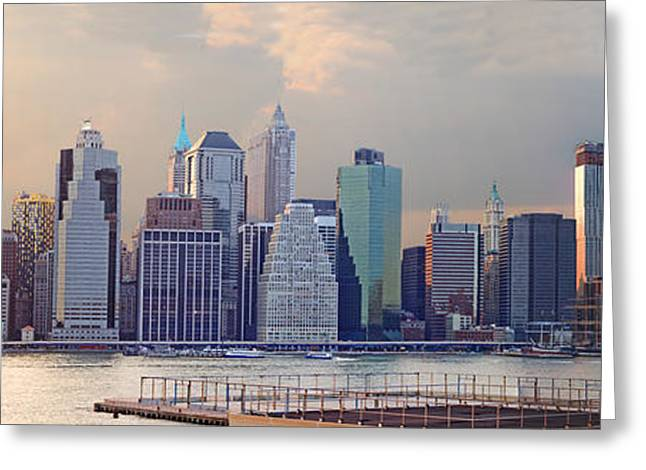 Lower Manhattan Panorama From Brooklyn Greeting Card by Thomas Marchessault