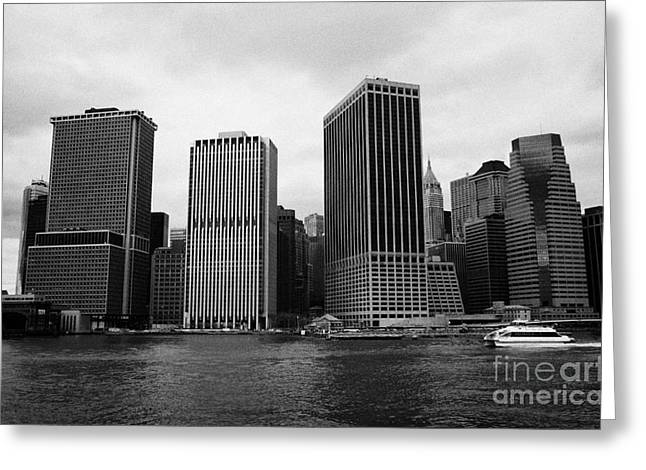 Manhatan Greeting Cards - Lower Manhattan Shoreline And Skyline And Financial District Waterfront New York City Greeting Card by Joe Fox