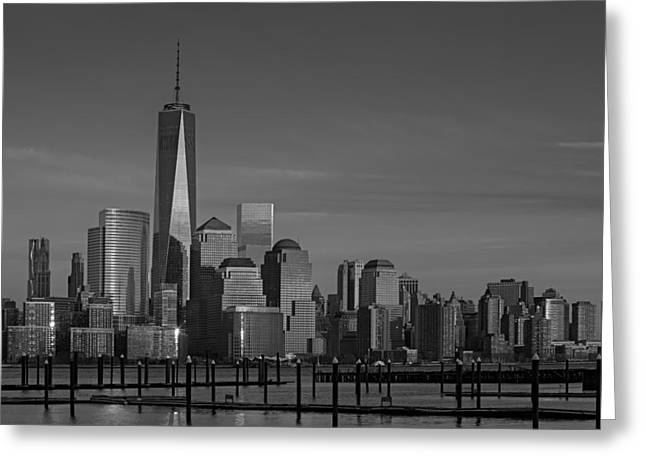 Cityscapes Greeting Cards - Lower Manhattan Skyline BW Greeting Card by Susan Candelario