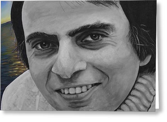 Cosmos Paintings Greeting Cards - Lower New York Bay- Carl Edward Sagan Greeting Card by Simon Kregar