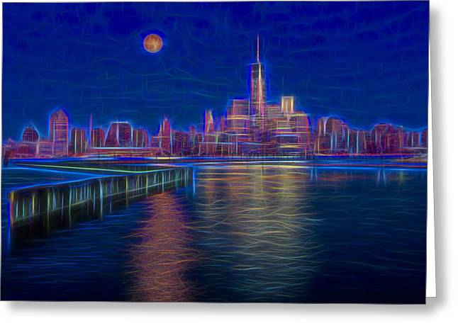 Wtc Greeting Cards - Lower New York City Glow Greeting Card by Susan Candelario