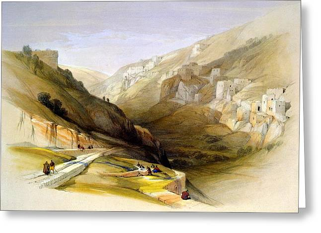 Judea Greeting Cards - Lower pool of Siloam Valley of Jehosophat Greeting Card by Munir Alawi