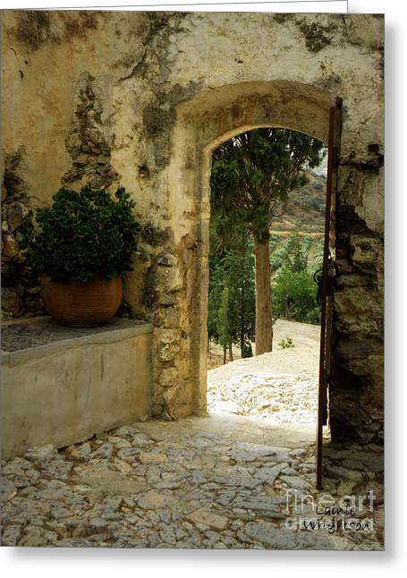 Lainie Wrightson Greeting Cards - Lower Preveli Monastery Crete 3 Greeting Card by Lainie Wrightson