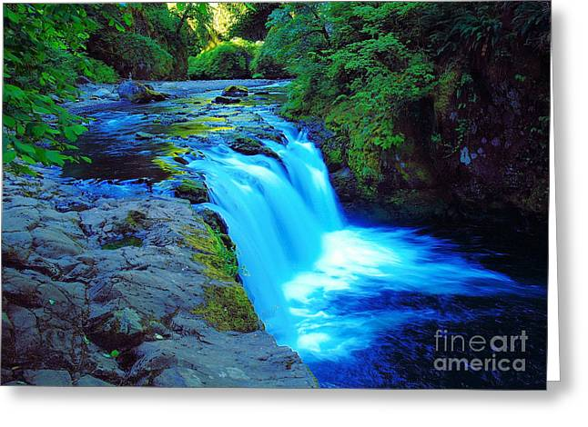 Eagle Creek Greeting Cards - Lower Punchbowl Falls Greeting Card by Jeff  Swan