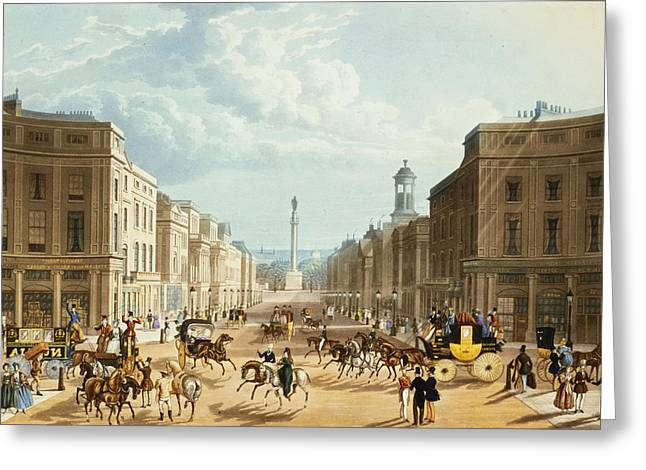Coach Drawings Greeting Cards - Lower Regent Street, Pub. By Ackermann Greeting Card by Thomas Hosmer Shepherd