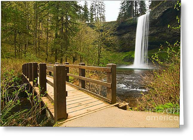 Plunge Greeting Cards - Lower South Waterfall with footbridge in Oregon Columbia River Gorge. Greeting Card by Jamie Pham