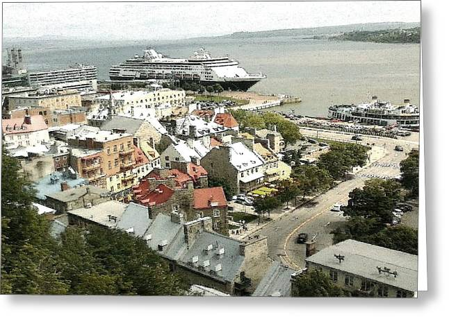 Port Town Drawings Greeting Cards - Lower Town Quebec City Canada Greeting Card by Peter Fine Art Gallery  - Paintings Photos Digital Art