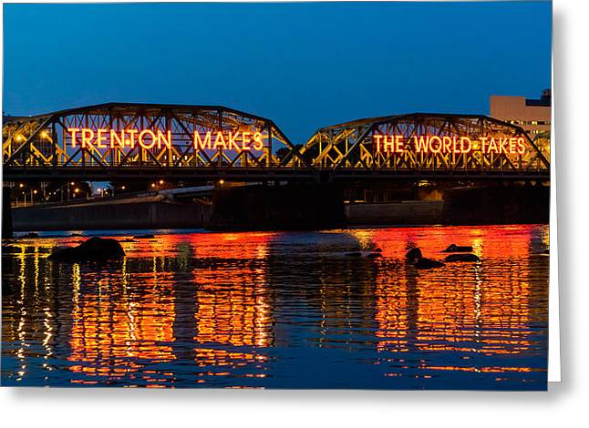 Blue Hour Greeting Cards - Lower Trenton Bridge Greeting Card by Louis Dallara