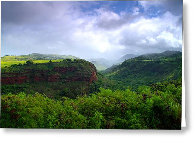 Waimea Valley Greeting Cards - Lower Waimea Canyon Greeting Card by Brian Harig
