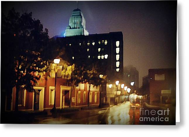 Halifax Art Galleries Greeting Cards - Lower Water Street in the Fog Halifax Nova Scotia Greeting Card by John Malone