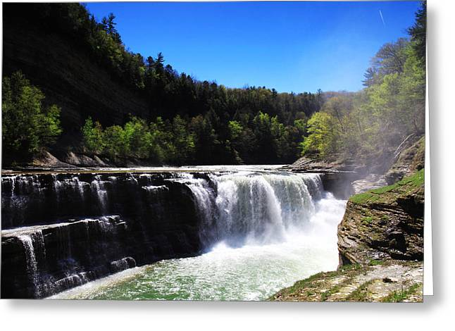 Mid West Landscape Art Greeting Cards - Lower Waterfalls In Letchworth State Park Greeting Card by Paul Ge