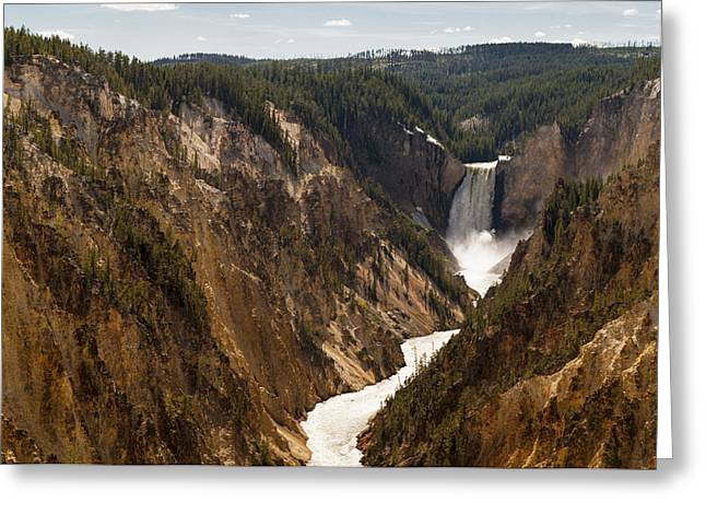 White River Scene Greeting Cards - Lower Yellowstone Canyon Falls 4 - Yellowstone National Park Wyoming Greeting Card by Brian Harig