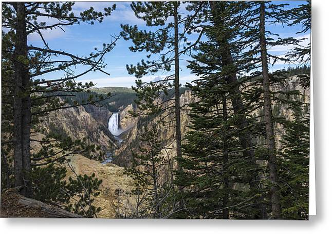 Lower Yellowstone Canyon Falls - Yellowstone National Park Wyoming Greeting Card by Brian Harig