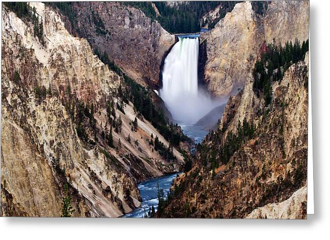 Lower Yellowstone Falls Greeting Card by Bill Gallagher