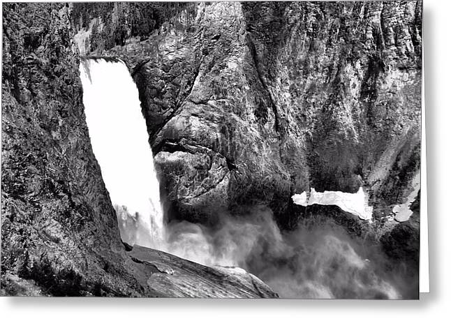 Uncle Tom Greeting Cards - Lower Yellowstone Falls Black And White Greeting Card by Dan Sproul