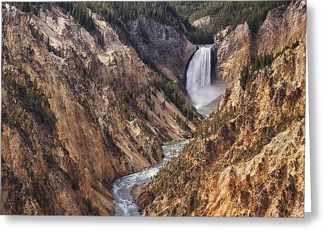 Lower Yellowstone Falls Greeting Card by Mark Kiver