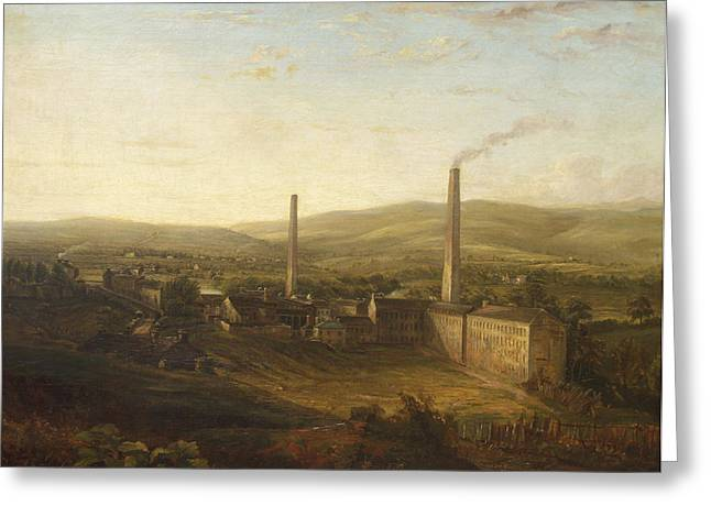 Factory Greeting Cards - Lowerhouse Print Works, Burnley Greeting Card by English School
