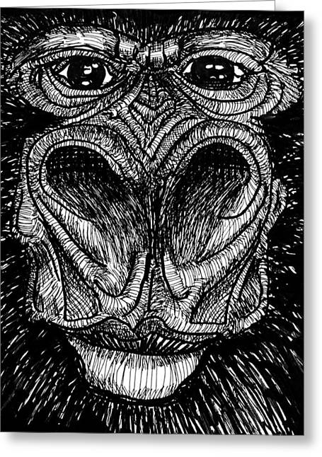 Gorilla Drawings Greeting Cards - Lowland Johnny Greeting Card by Del Gaizo