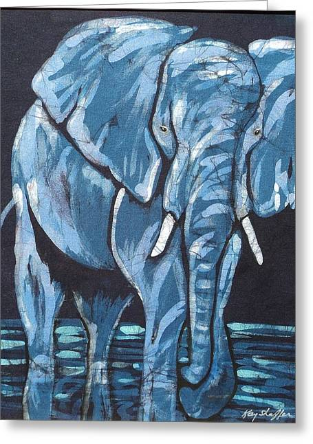 Teal Tapestries - Textiles Greeting Cards - Loxodonta Greeting Card by Kay Shaffer