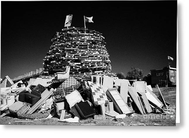 Protest Greeting Cards - Loyalist 11th Night Bonfire Built On Annadale Embankment In Belfast Ulster Greeting Card by Joe Fox