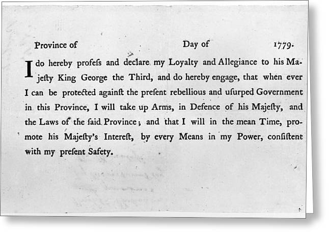 LOYALIST OATH, 1779 Greeting Card by Granger