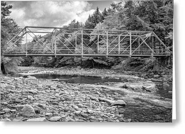 Mountain Road Greeting Cards - Loyalsock Creek Pennsylvania BW Greeting Card by Steve Harrington