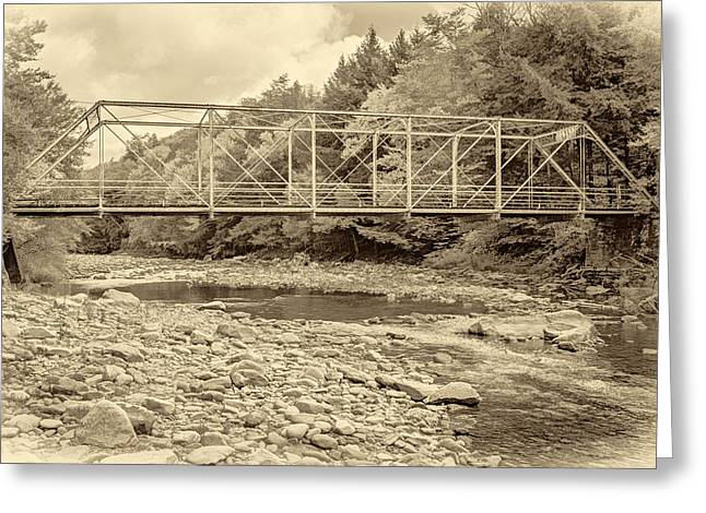 Mountain Road Greeting Cards - Loyalsock Creek Pennsylvania sepia Greeting Card by Steve Harrington