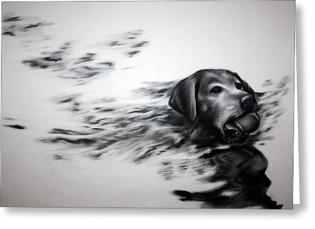 Puppies Drawings Greeting Cards - Loyalty Greeting Card by Courtney Kenny Porto