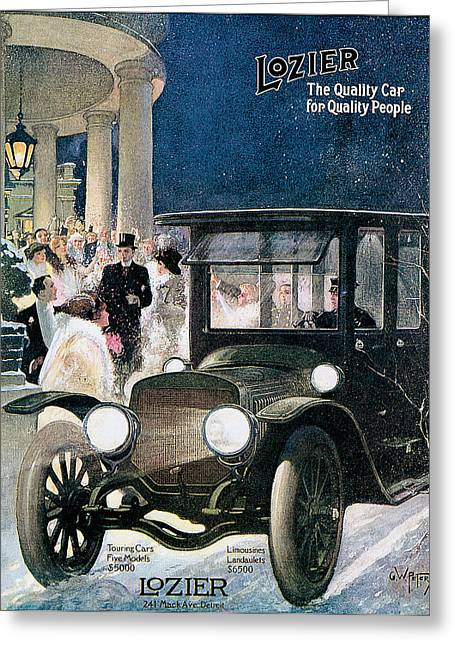 Advertisment Greeting Cards - Lozier Cars - Vintage Advertisement Greeting Card by World Art Prints And Designs