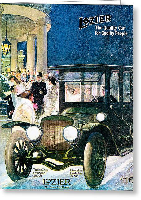 Touring Car Greeting Cards - Lozier Greeting Card by Vintage Automobile Ads and Posters