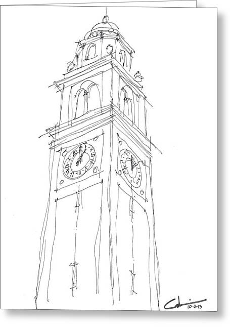 Sec Drawings Greeting Cards - LSU Bell Tower Study Greeting Card by Calvin Durham