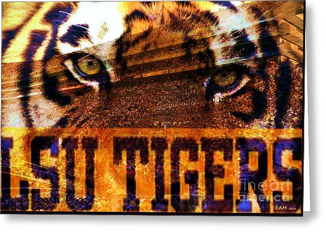 Mike The Tiger Greeting Cards - LSU - Death Valley Greeting Card by Elizabeth McTaggart